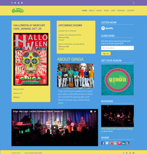 gingaband.com - website by Samadhi Web Design - samadhiwebdesign.com